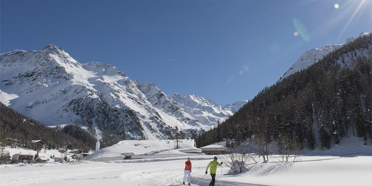 High-Altitude Cross-Country Skiing Trail in Solda/Sulden