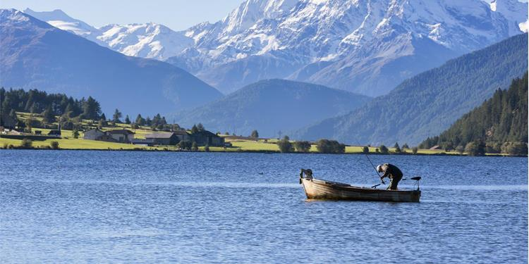 Fishing in the lake Haidersee